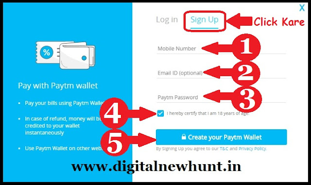 Details bhare aur Create your Paytm Wallet pe click kare