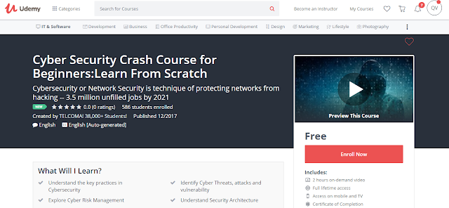Cyber Security Crash Course for Beginners:Learn From Scratch-Udemy Free (100%)