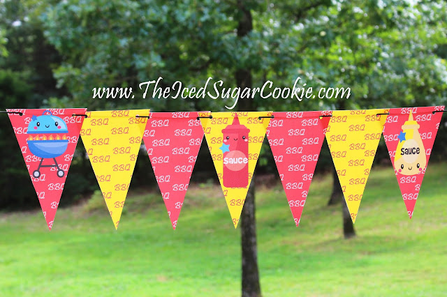 BBQ Birthday Party Printables- Flag Bunting Banner Garland Free Printables by The Iced Sugar Cookie- BBQ Grill Mustard And Ketchup Bottle on the front of the banner.