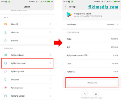 hapus data dan cache google play store