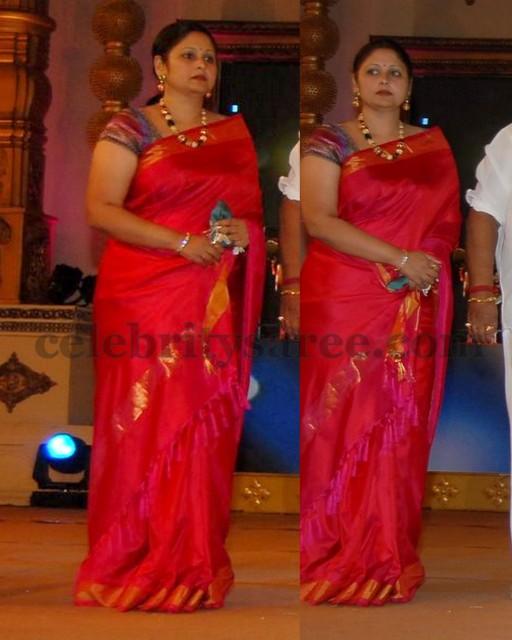 Jayasudha Silk Saree in Reddish Pink - Saree Blouse Patterns Fancy Color Border