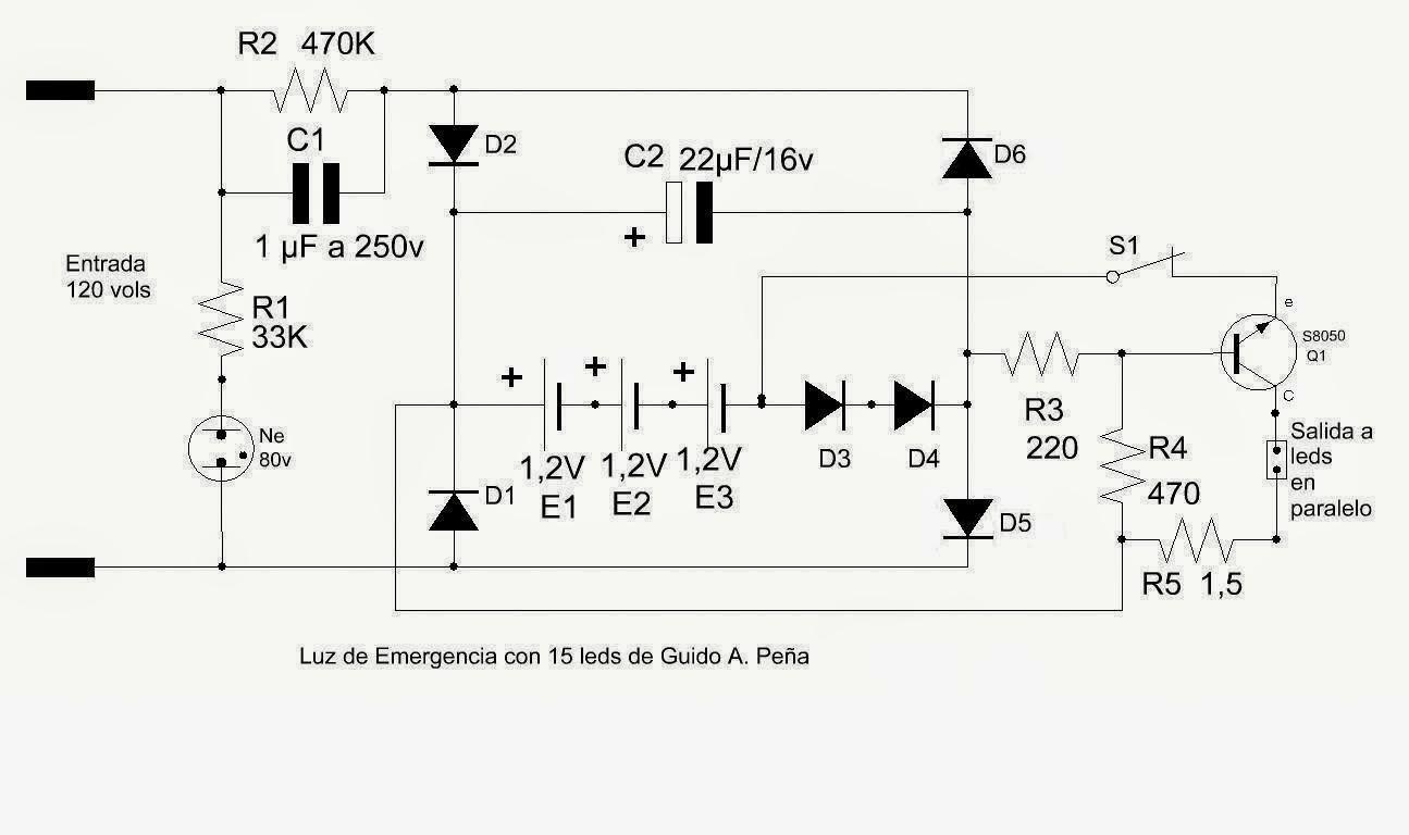 Circuito Led : Proyectos electrónicos caseros: luz de emergencia de 15 leds flux
