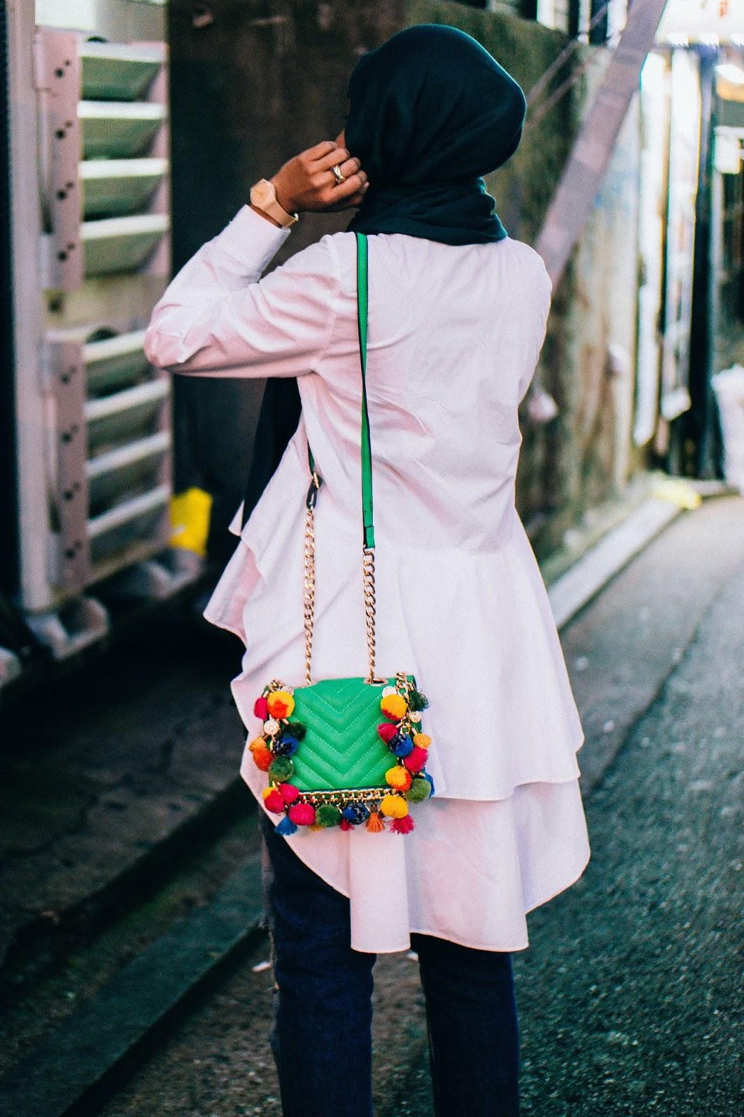 Zara Tiered Ruffle White Shirt Aldo Pom Pom Bag
