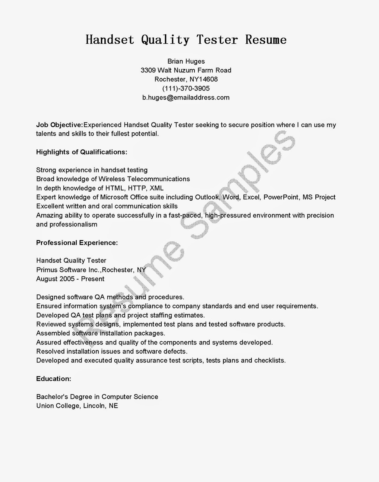 Resume Samples Handset Quality Tester Sample Five