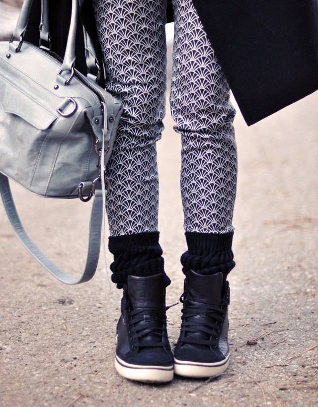 winter style, black and gray, scrunch socks and high tops