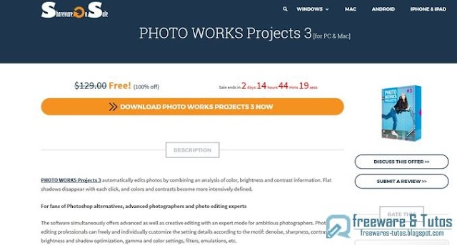 Offre promotionnelle : PHOTO WORKS Projects 3 Elements gratuit (3 jours) !