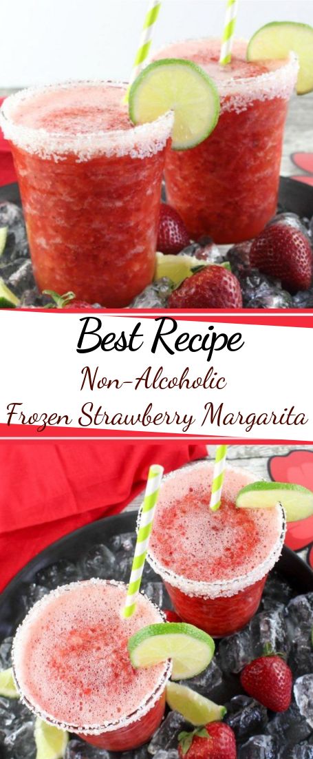 Non-Alcoholic Frozen Strawberry Margarita #drink#fresh