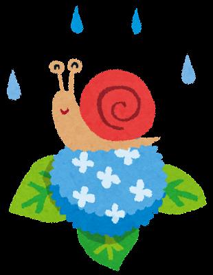 梅雨のイラスト「紫陽花とかたつむり」