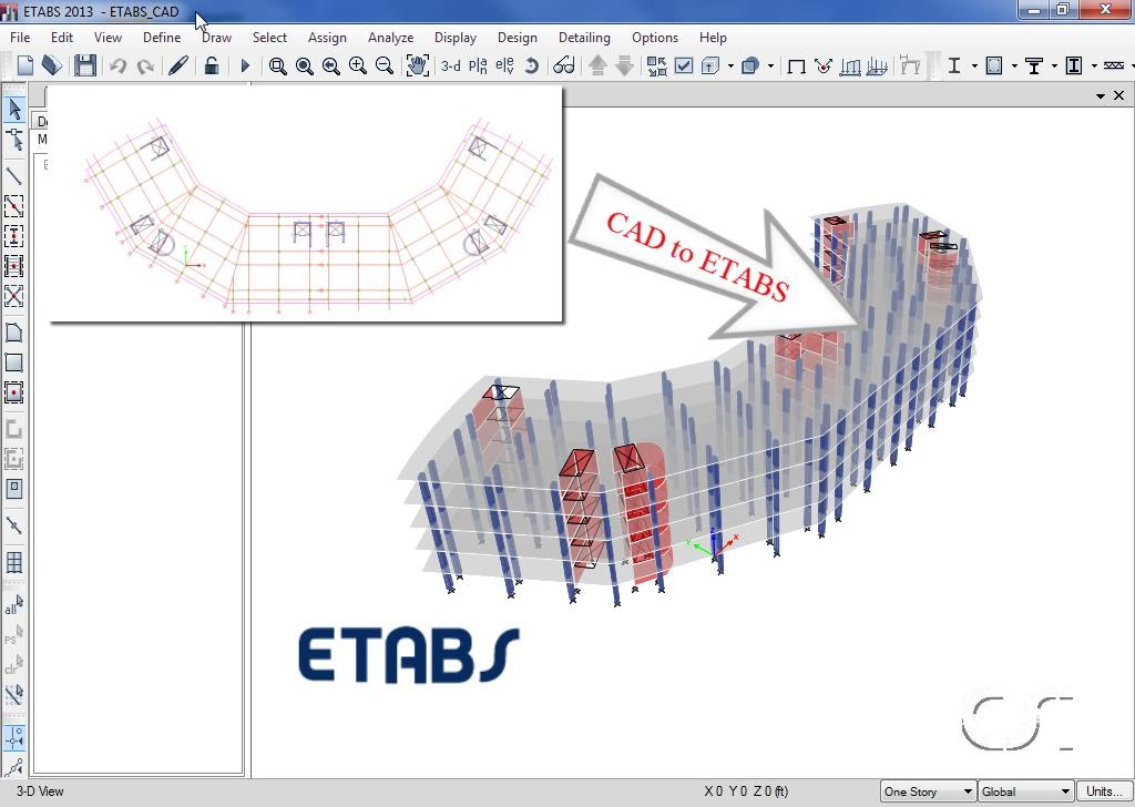 Importing a model from AutoCAD to Etabs | Strukts