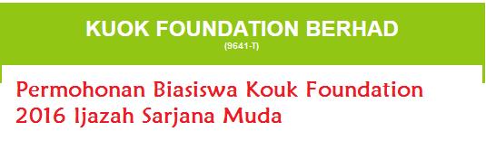 Permohonan Biasiswa Kouk Foundation 2016