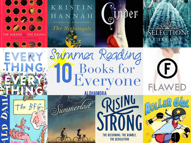 10 Summer Reading Books for Everyone- There's a book and a genre everyone can enjoy. All fast reads and fun books.  5 star books, and award winning books. Great read alouds.  Fantasy, Contemporary, classic, middle grade fiction, graphic novels, non-fiction, WWII historical fiction, sci-fi, dystopian, beach reads, YA lit, fractured retelling fairy tales fantasy. Alohamora Open a Book http://alohamoraopenabook.blogspot.com/