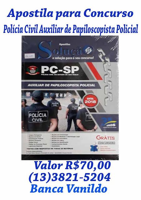 Apostila para Concurso de Auxiliar de Papiloscopista Policial