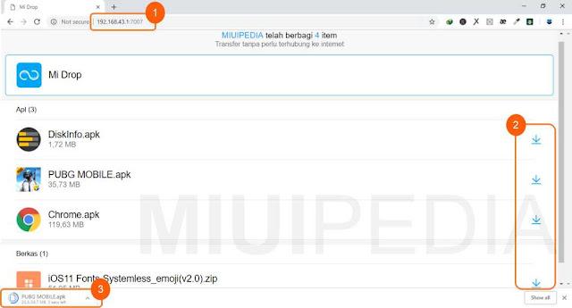 Cara mengambil file dengan Fitur Webshare mi drop