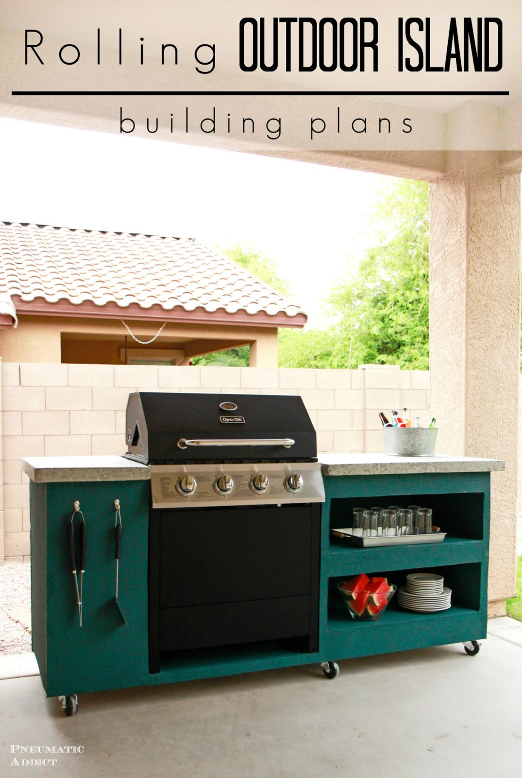 Learn How To Build Your Own Rolling Outdoor Grill Island