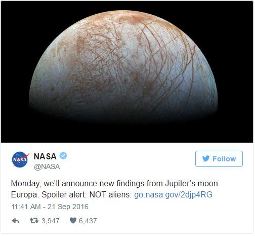 Twitter da NASA - revelação sobre lua Europa de Júpiter