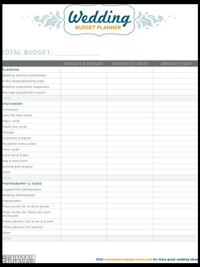Free Printable Wedding Planner Templates | Resume Business Template