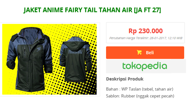 jaket fairy tail bahan taslan waterproof