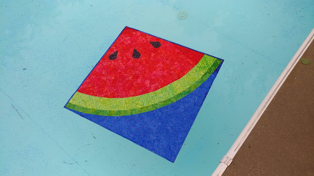 Sliced watermelon quilt using Island Batik fabrics
