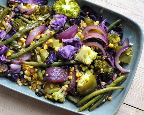 Grilled Vegetables in Foil, mixed veggies in an Asian-style soy-ginger sauce. Recipe, tips, WW points at Kitchen Parade.