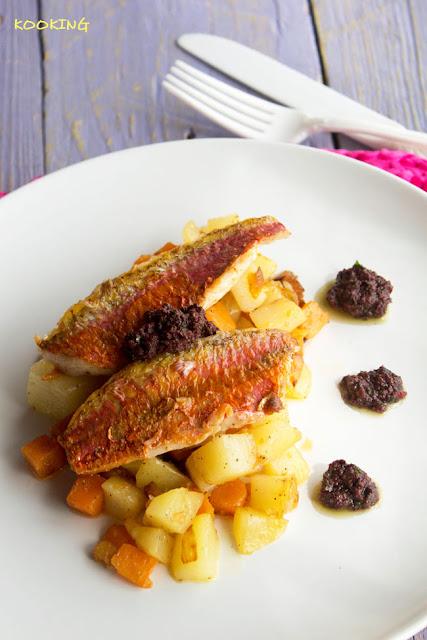 Salmonetes con patatas, boniatos y olivada de Kalamatas - Kooking