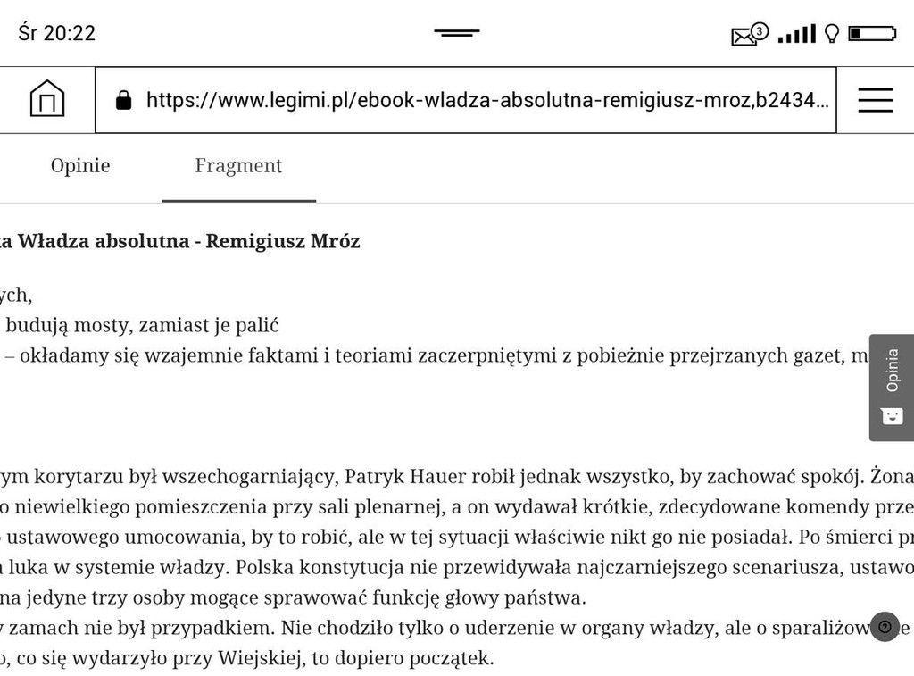 Opis e-booka w Legimi w przeglądarce na PocketBook Touch HD 3