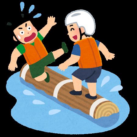 庄川水まつりの流木乗りのイラスト