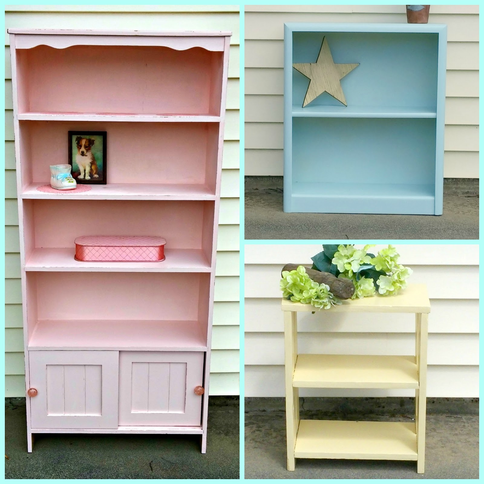 Ice Cream Colored Bookcase Makeovers - Little Vintage Cottage