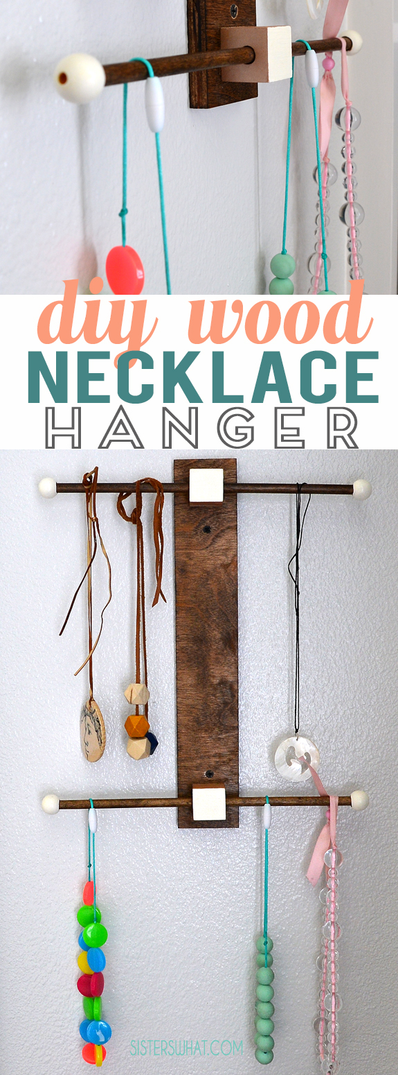 A DIY modern necklace holder that is easy to make and all the supplies from a craft store.