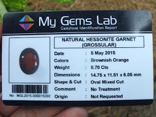Gemstone certificate