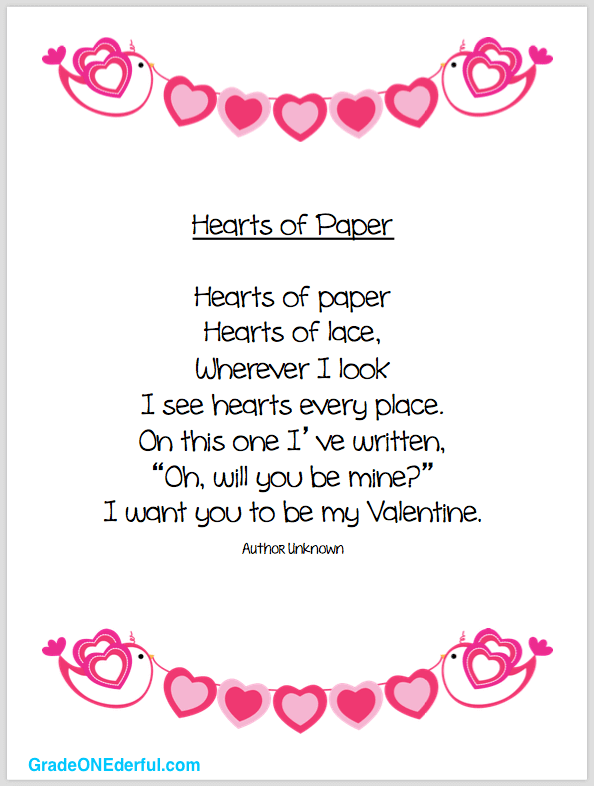 "Valentine Poem called ""Hearts of Paper"". Perfect for 1st Grade. #valentines #poemsforkids #valentinepoem #gradeonederful"