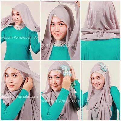 gambar tutorial hijab segi empat Modern terbaru 2015
