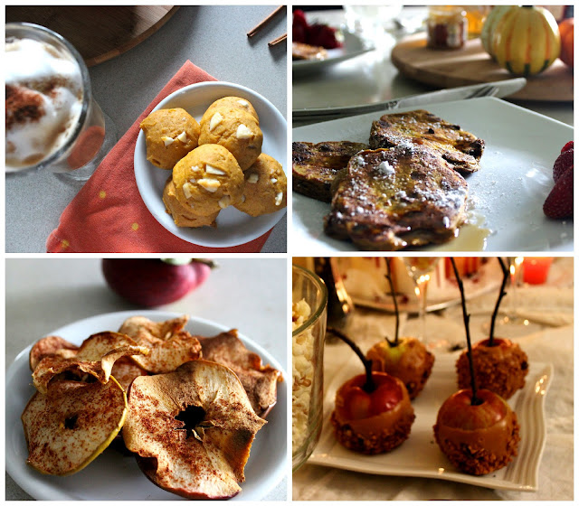 Fall desserts : apple chip, caramel apples, fall brunch, pumpkin cookies and latte