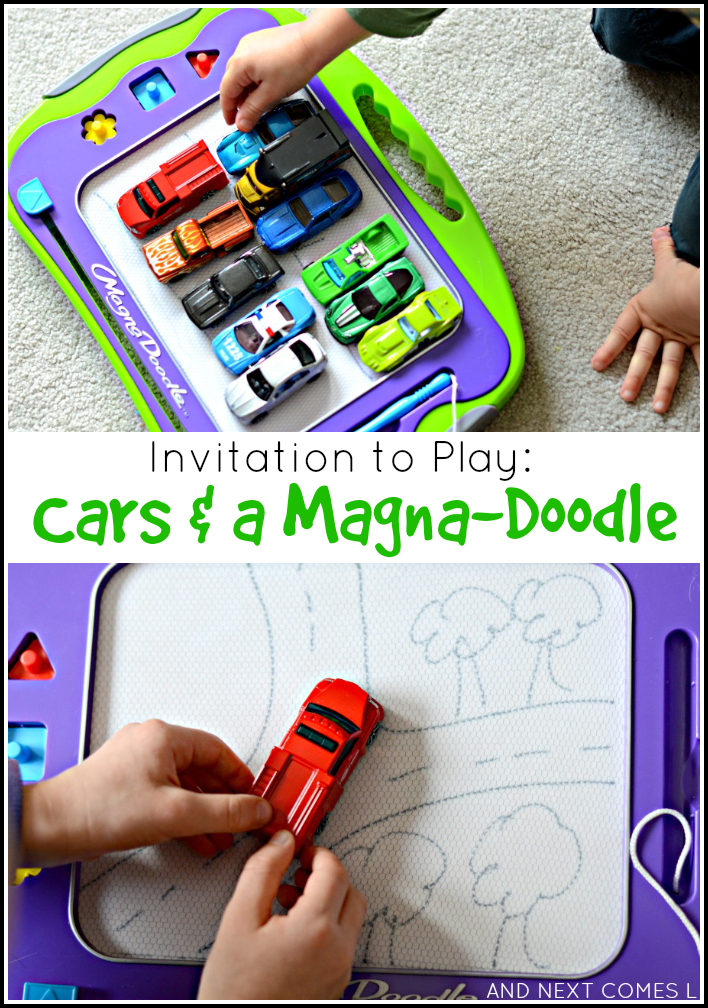 Open-ended invitation to play with cars and a Magna-Doodle - a great boredom buster for kids from And Next Comes L