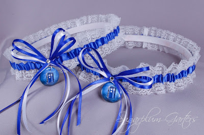 Doctor Who Tardis Lace Wedding Garter Set by Sugarplum Garters