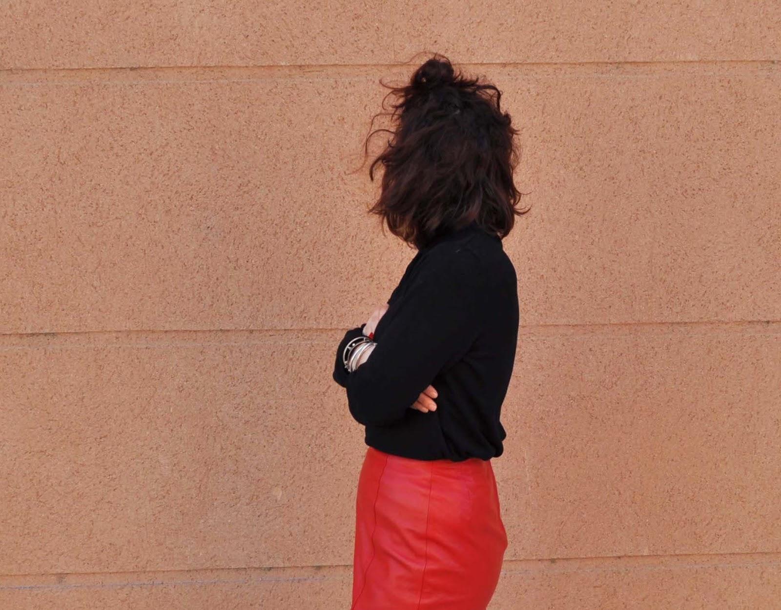 jupe en cuir taille haute