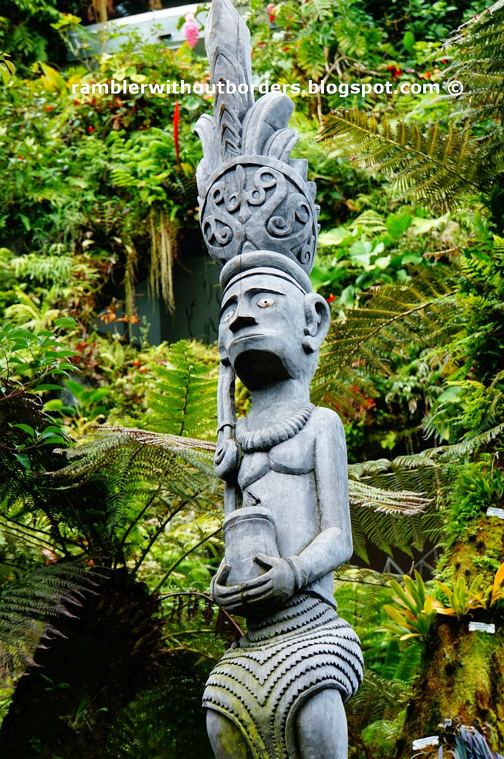 Amazonian totem pole, Cloud Forest Dome, Gardens by the Bay, Singapore