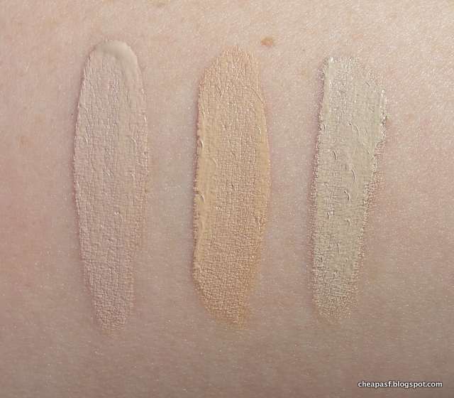 Swatches of Sephora Bright Future Gel Serum Concealer in Butter Cream and Fondant, and Nars Radiant Creamy Concealer in Chantilly