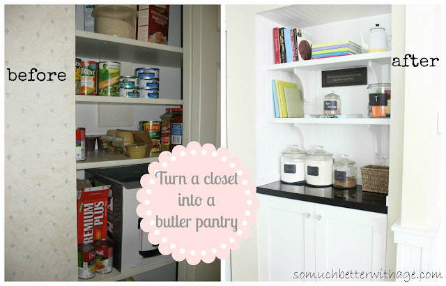 Closet into butler pantry   www.somuchbetterwithage.com