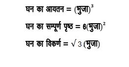 घन(Cube) : वह वस्तु जिसकी लम्बाई , चौड़ाई और ऊंचाई तीनो बराबर होती  हैं , घन(Cube) कहलाता है ।    फार्मूला (Formula) :