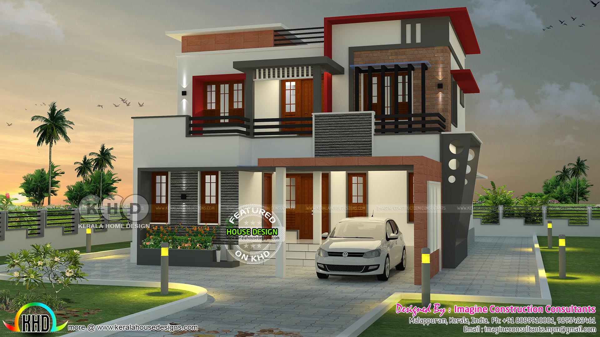 1900 square feet 4 bhk contemporary home kerala home for 4 bhk home design