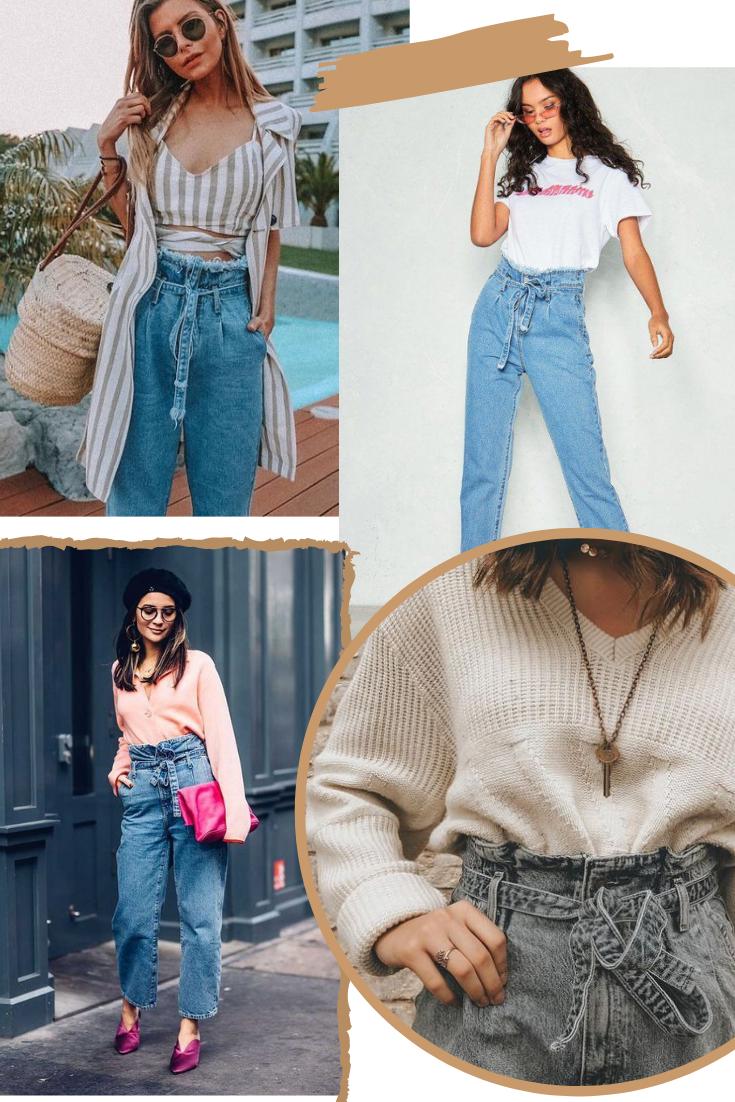 Outfits e dicas para usar paperbag jeans