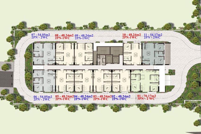 Mặt bằng tầng điển hình 3 - 13 dự án Harina View