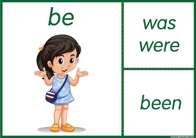 Irregular verb be - printable ESL flashcards