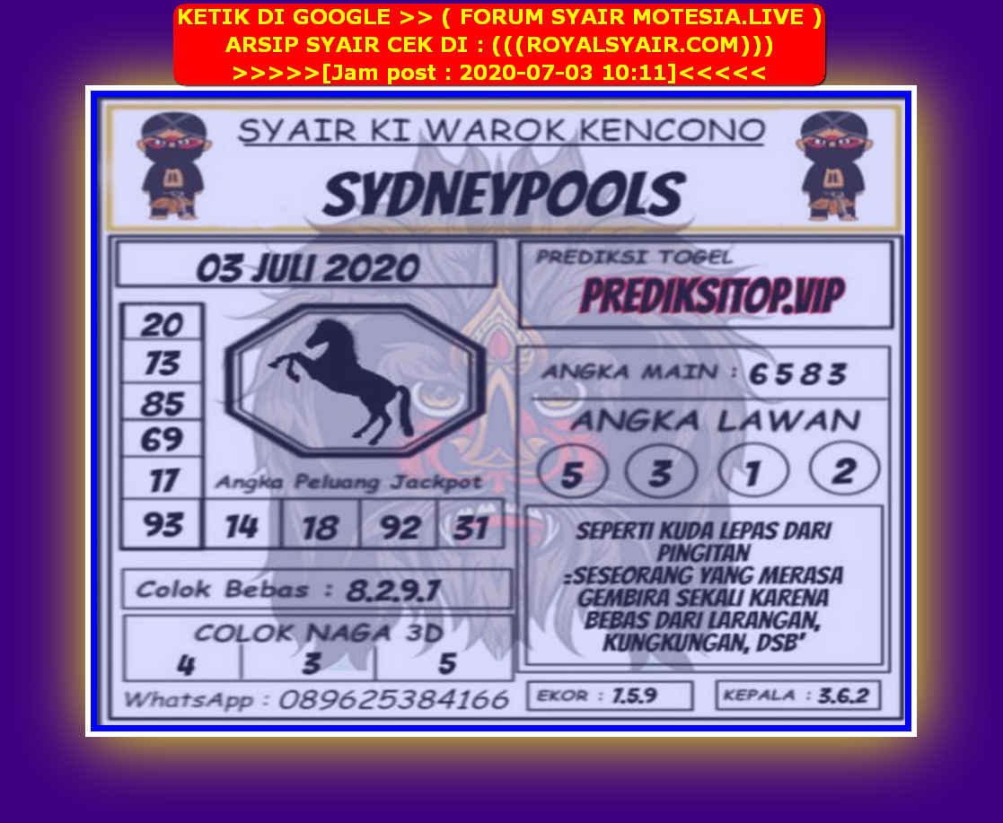 Kode syair Sydney Jumat 3 Juli 2020 169