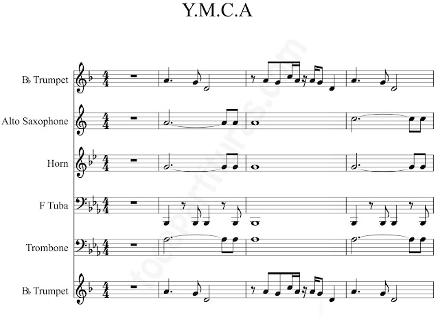 1 YMCASheet Music for trumpet, alto saxophone, horn, tube, trombone by Village Music Scores.JPG