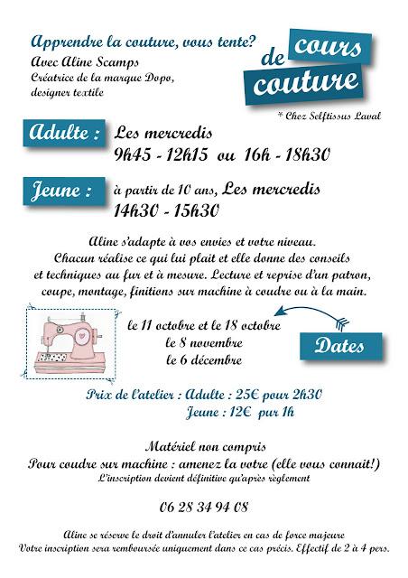 madame dopo: cours de couture à laval et à jublains en mayenne !