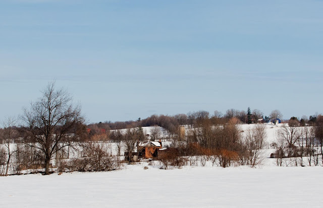 A snow covered farm makes for a pretty winter picture.