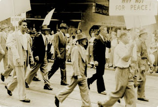 A 1950s ASIO surveillance photograph of political activists, including Gilbert Burns in the dark suit (National Archives of Australia)