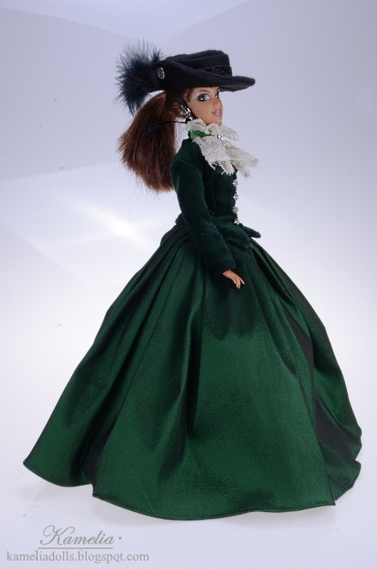 Green riding dress for Barbie doll.