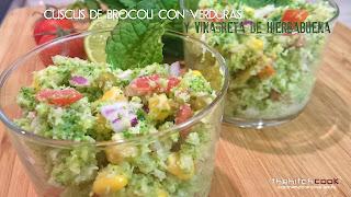 Cuscus de brócoli con verduras y hierbabuena